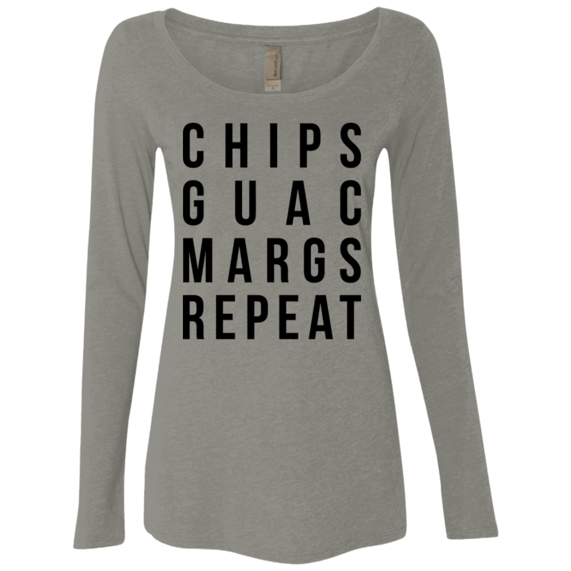Chips Guac Margs Repeat Women's Long Sleeve Tee - Trendy Tees