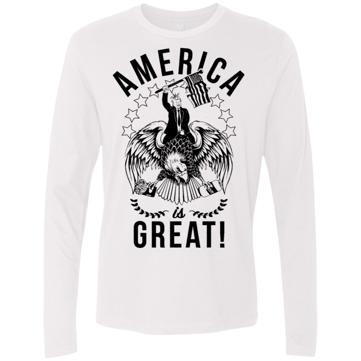 America is Great Trump Riding Eagle Men's Long Sleeve Tee