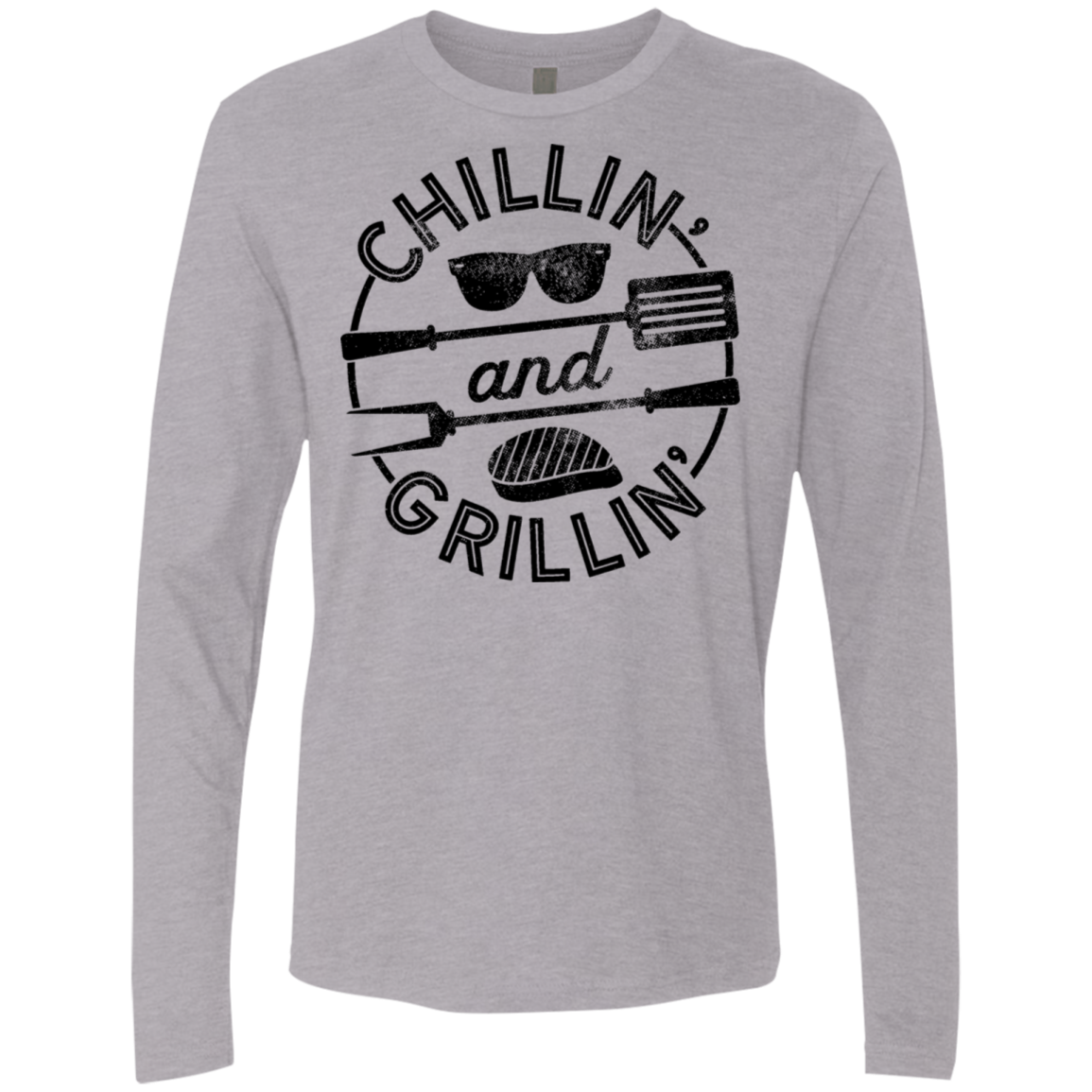 Chillin and Grillin Men's Long Sleeve Tee - Trendy Tees