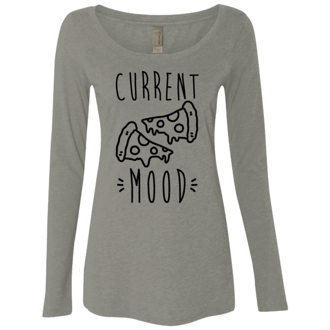 Current Mood Pizza Women's Long Sleeve Tee - Trendy Tees