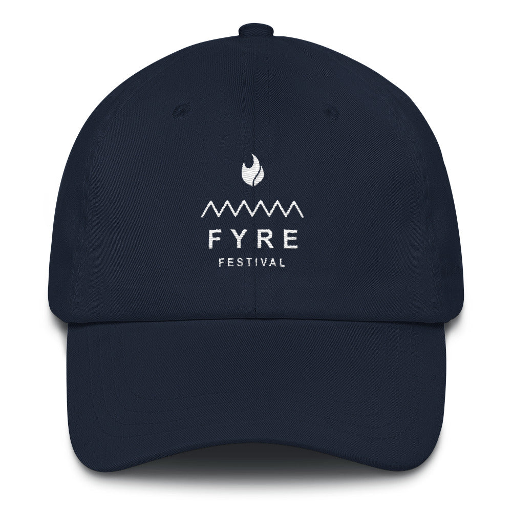 Fyre Festival White Logo Lit Dad Hat - Trendy Tees