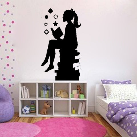Silouette of Girl Reading Books - Kreative Decals