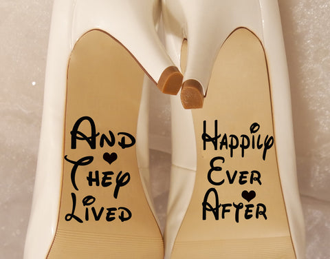 And they lived happily ever after-Wedding shoe decal - Kreative Decals
