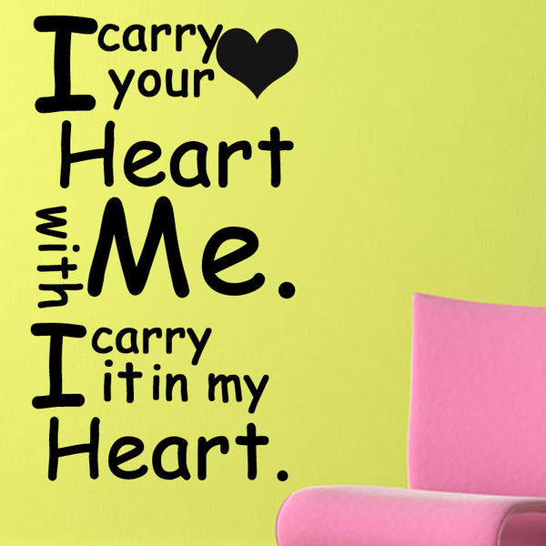 i carry your heart with me It reminded me of the famous e e cummings poem 'i carry your heart with me' which i think is probably my favourite poem it's taped on the board in my office and carried in my heart it's taped on the board in my office and carried in my heart.