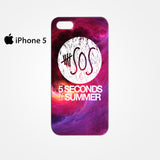 5 SOS Seconds Of Summer Purple Space Galaxy for Iphone 4/4S Iphone 5/5S/5C Iphone 6/6S/6S Plus/6 Plus 3D Phone case