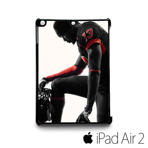 American football player kneeling in silhouette shadow on white for custom case iPad 2/iPad Mini 2/iPad 3/iPad Mini 3/iPad 4/iPad Mini 4/iPad Air 1/iPad Air 2
