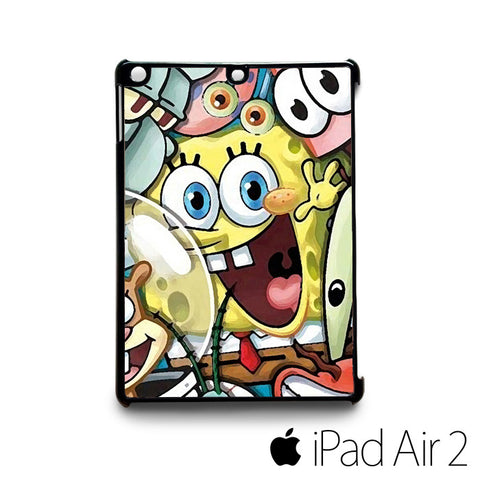 Sponge Bob and happily friend for custom case iPad 2/iPad Mini 2/iPad 3/iPad Mini 3/iPad 4/iPad Mini 4/iPad Air 1/iPad Air 2