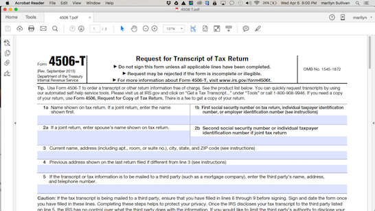 Downloadable Form Irs 4506 T Free Law Office Of Marilyn Sullivan