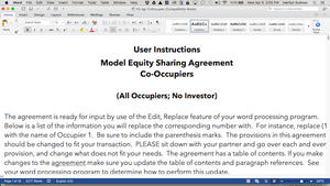 Co-Occupier Equity Sharing Agreement