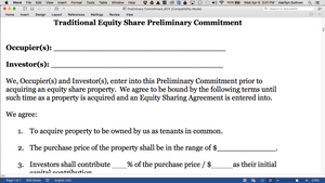 Co-Ownership Equity Sharing Preliminary Commitment Form