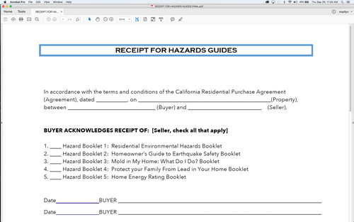 Hazards Guide Receipt
