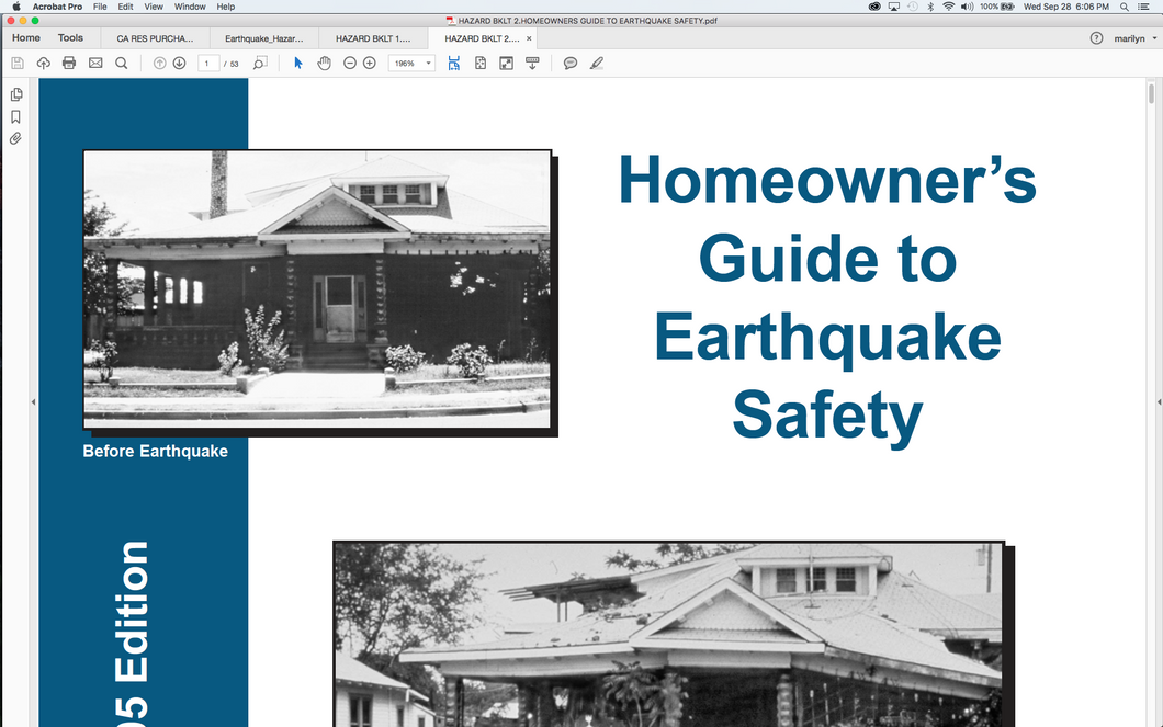 Hazards Booklet 2:  Homeowner's Guide To Earthquake Safety Booklet