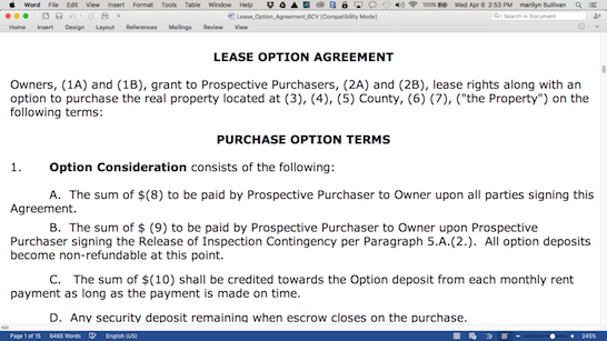 Rent to Own Lease Option Agreement