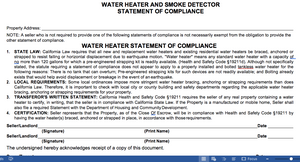 Water Heater and Smoke Detector Statement of Compliance