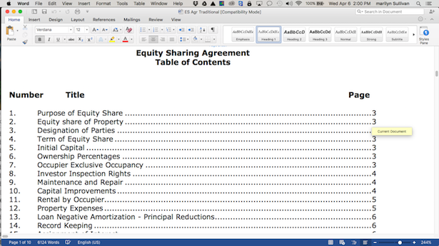 Traditional Equity Sharing Agreement.