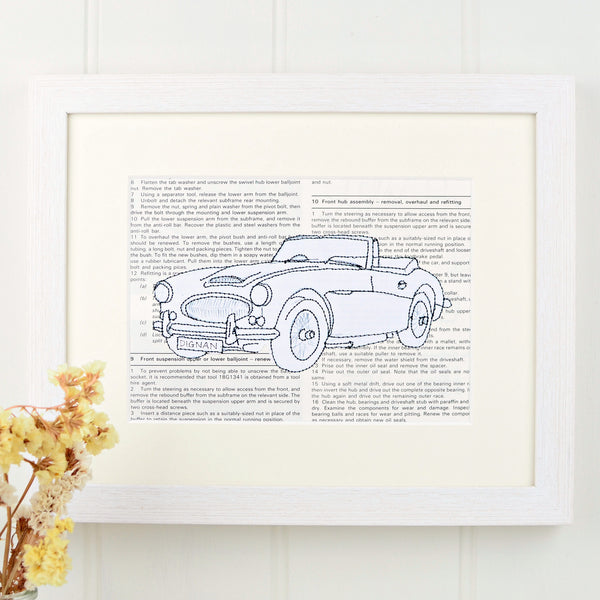 Personalised Austin Healey Embroidered Artwork - ZoeGibbons