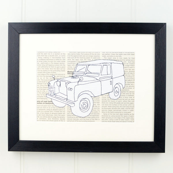 Personalised Landrover Embroidered Artwork - ZoeGibbons