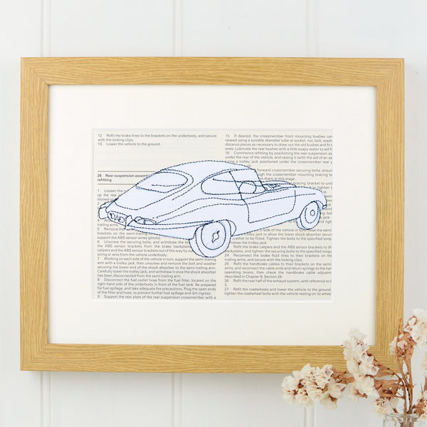 Personalised Jaguar E Type Embroidered Artwork - ZoeGibbons