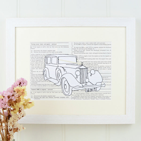 Personalised Wedding Car Embroidered Artwork - ZoeGibbons