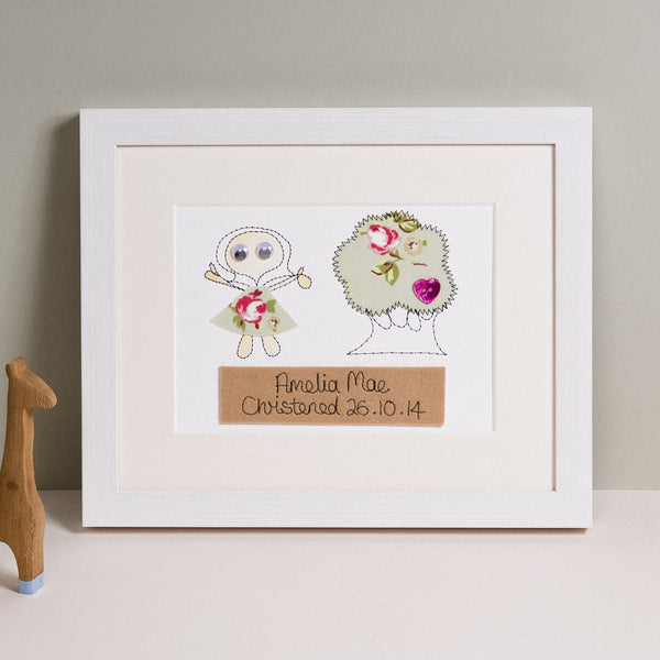 Personalised Christening Embroidered Artwork - ZoeGibbons