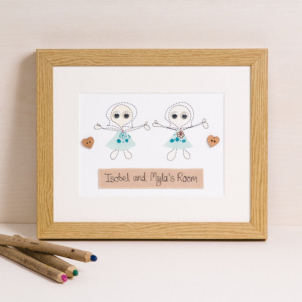 Personalised Siblings Embroidered Artwork - ZoeGibbons