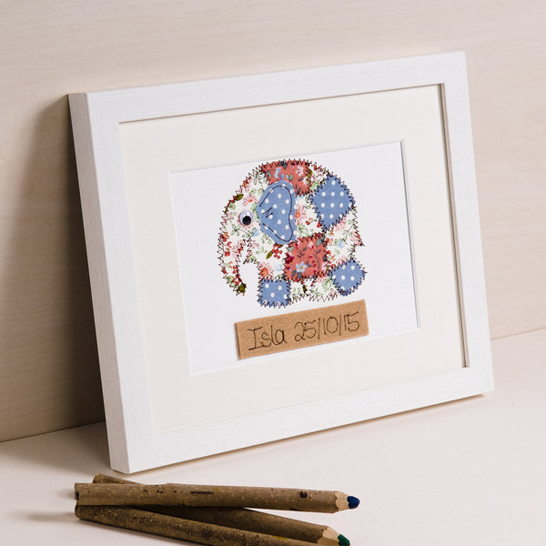 Personalised Elephant Embroidered Artwork - ZoeGibbons