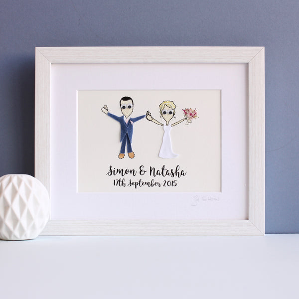 Personalised Wedding Couple Embroidered Artwork - ZoeGibbons