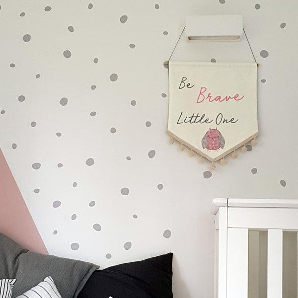 Custom 'Be Brave Little One' Embroidered Wall Hanging - ZoeGibbons