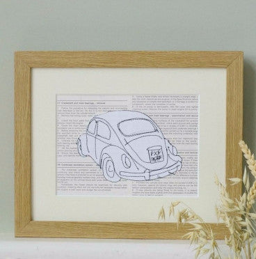 Personalised VW Beetle Embroidered Artwork - ZoeGibbons