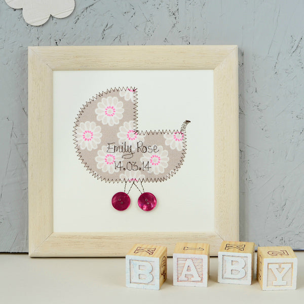 Personalised Embroidered New Baby Plaque - ZoeGibbons