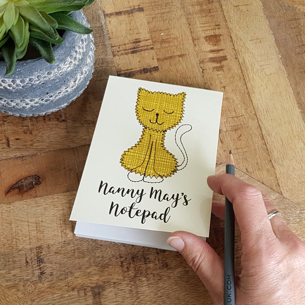 Personalised Cat Embroidered Notepad - ZoeGibbons
