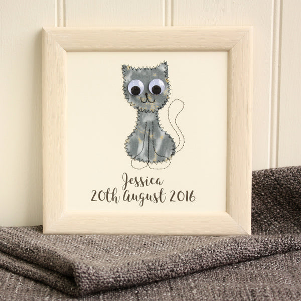 Personalised Cat Embroidered Plaque - ZoeGibbons