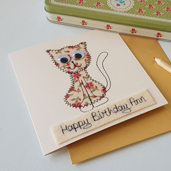 Personalised Cat Embroidered Card