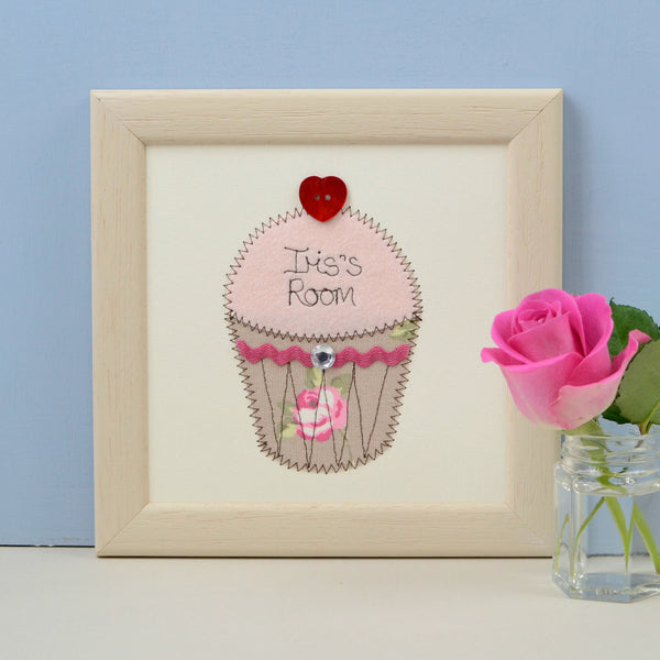 Personalised Cupcake Embroidered Plaque - ZoeGibbons
