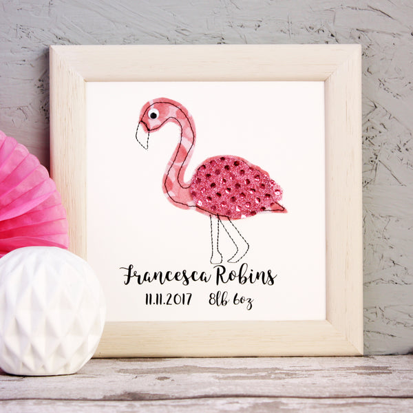 Personalised Flamingo Embroidered Framed Artwork - ZoeGibbons