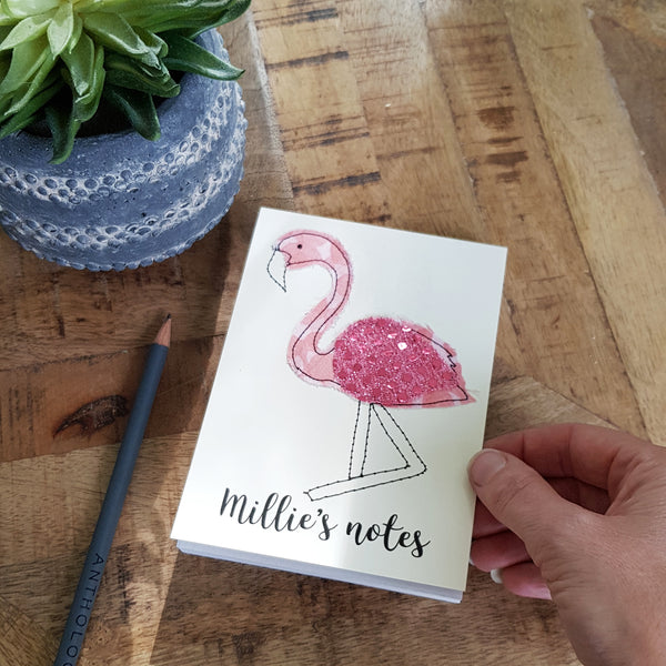 Personalised Flamingo Embroidered Notepad - ZoeGibbons