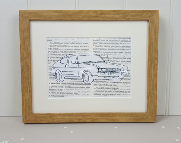 Personalised Ford Capri Embroidered Artwork - ZoeGibbons