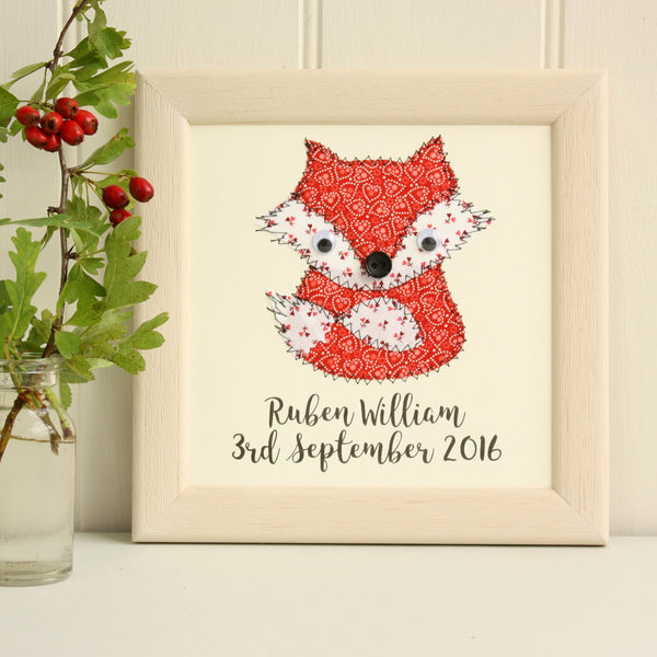 Personalised Baby Fox Embroidered Plaque - ZoeGibbons
