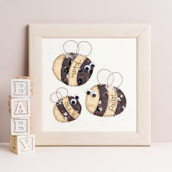 Personalised Bee Family Embroidered Plaque - ZoeGibbons