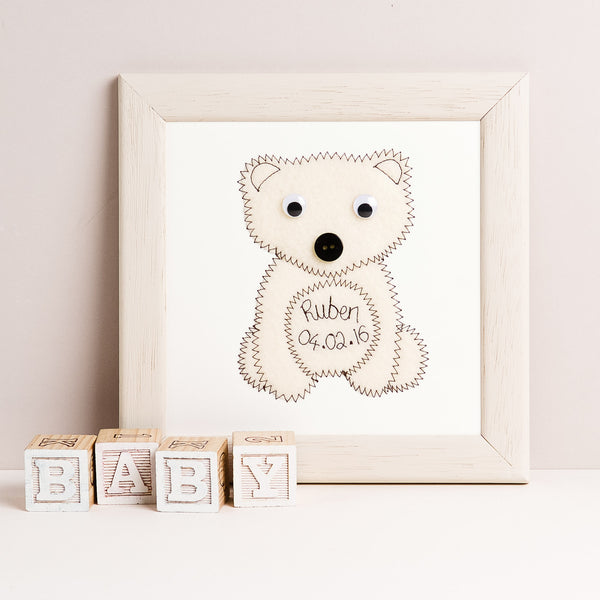 Personalised Polar Bear Embroidered Plaque - ZoeGibbons