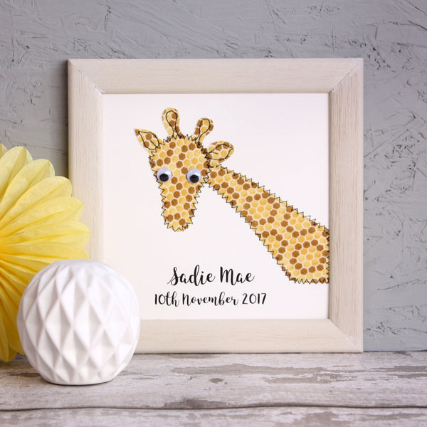 Personalised Baby Giraffe Embroidered Framed Artwork - ZoeGibbons