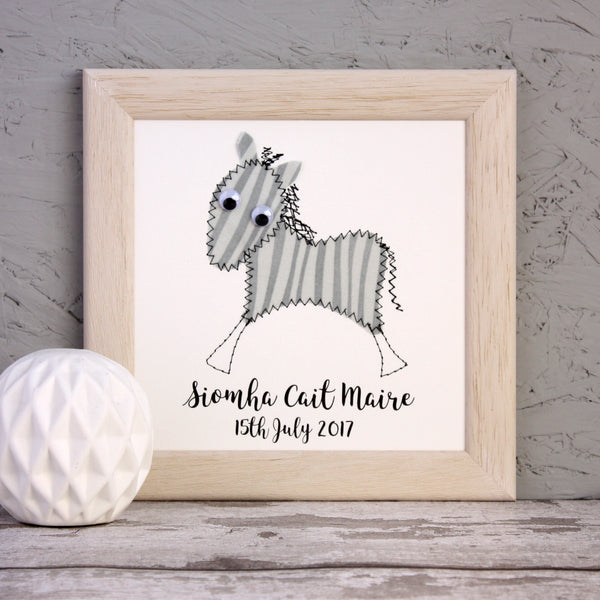 Personalised Zebra Embroidered Framed Artwork