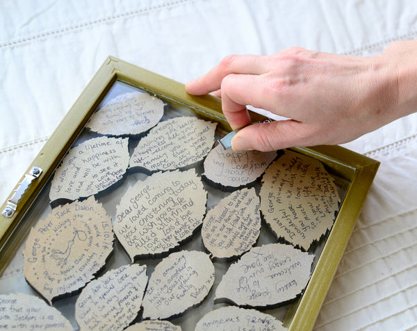 Personalised Leaf Guest Book with floating, double sided frame - ZoeGibbons