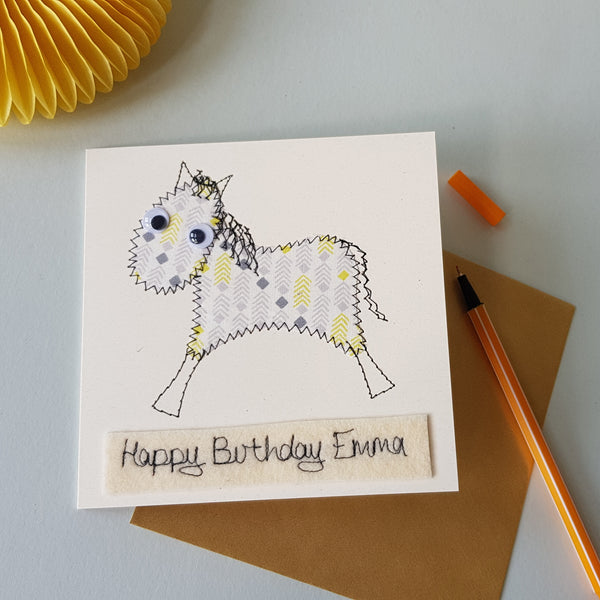 Personalised Horse Embroidered Card