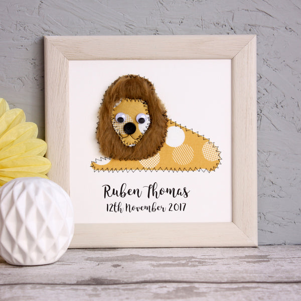 Personalised Lion Embroidered Framed Artwork - ZoeGibbons