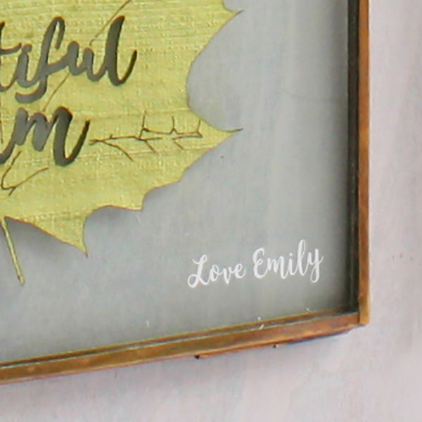 Personalised Silk Leaf Art in etched frame - ZoeGibbons