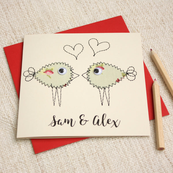 Personalised Lovebird Embroidered Card - ZoeGibbons