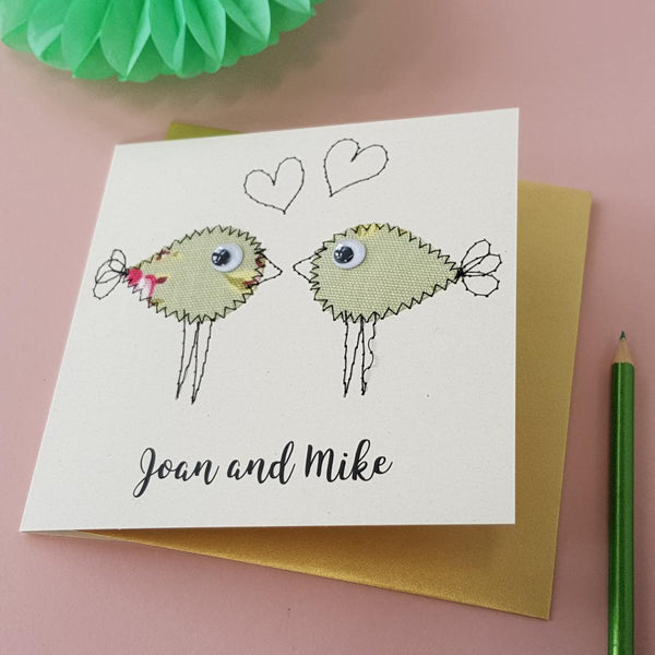 Personalised Lovebird Embroidered Card