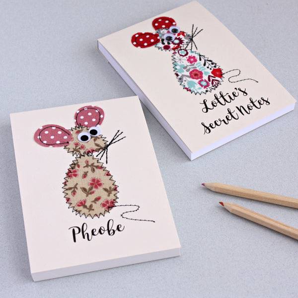 Personalised Mouse Embroidered Notepad - ZoeGibbons