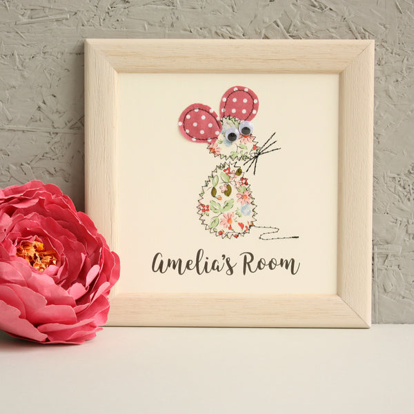 Personalised Baby Mouse Embroidered Plaque - ZoeGibbons